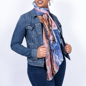 Women's watercolor neck scarf